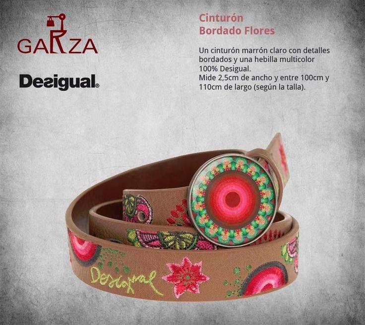 Cinturón Desigual bordado flores. Un cinturón marrón claro con detalles bordados y una hebilla multicolor 100% Desigual. Mide 2,5cm de ancho y entre 100cm y 110cm de largo (según la talla).