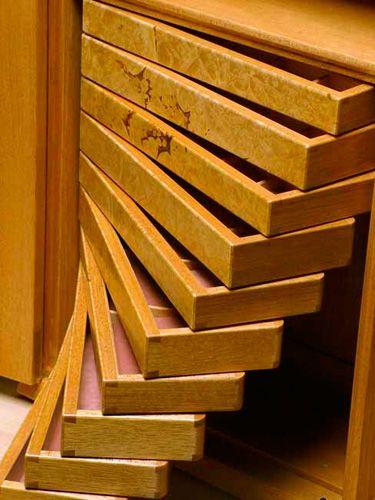 David Finck Woodworker Wall Hung Jewelry Cabinet
