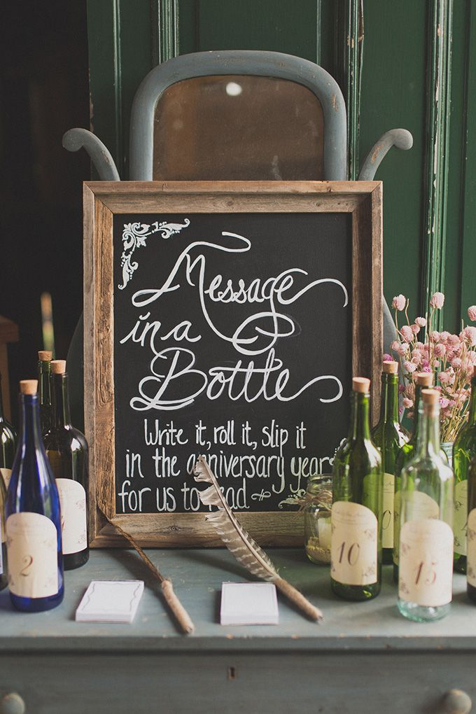 message in a bottle rustic wedding guest book | Jennifer Ling Photography | Glamour & Grace