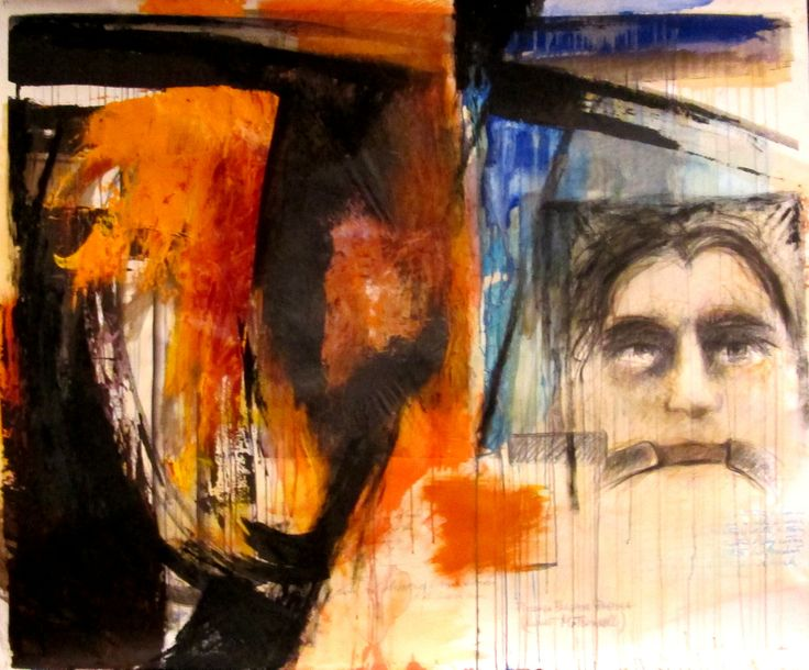 Omaggio alla poesia e a Garcia Lorca cm 150x127 Tecnica: colori acrilici, inchiostri, collage e pastelli su cartoncino Anno 2007