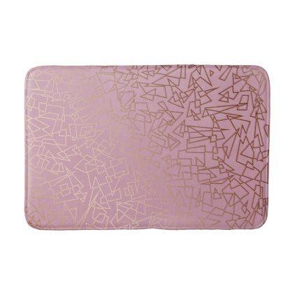 Elegant stylish rose gold geometric pattern grey bath mat - pattern sample design template diy cyo customize