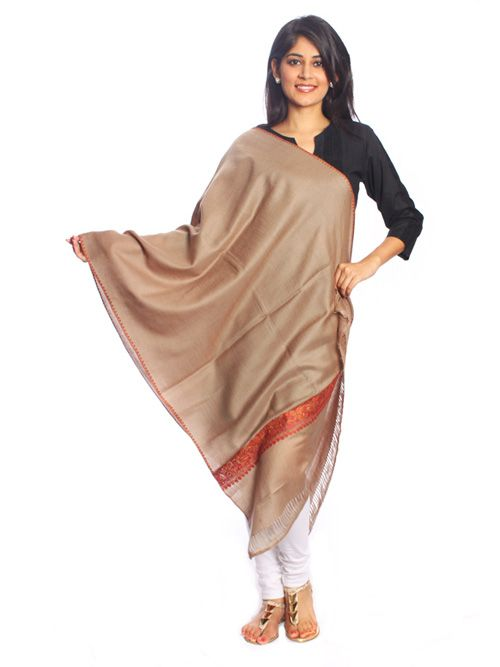 Brown Pure Woolen Shawl- An elegant gift for your loved one this winter! Pure woolen shawl that features border.
