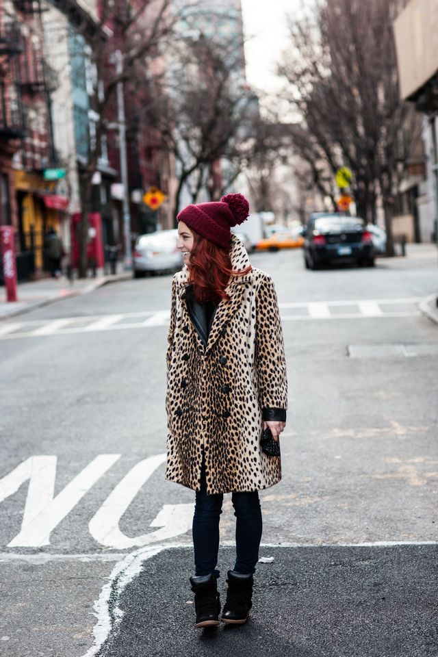 Try a leopard coat this winter, it's basically a neutral!!  Plans leo Burda coat by Strenesse, some Minnetonkas and a fine dark red cashmere beanie