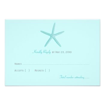 """The """"Shoreline Chic"""" wedding rsvp card features a skinny starfish illustration and tropical aqua / pool blue and turquoise colors. Simple and elegant style, perfect for a seaside wedding destination. #reply #rsvp #destination #wedding #beach #theme #simple #sea #shell #starfish #elegant #ocean"""
