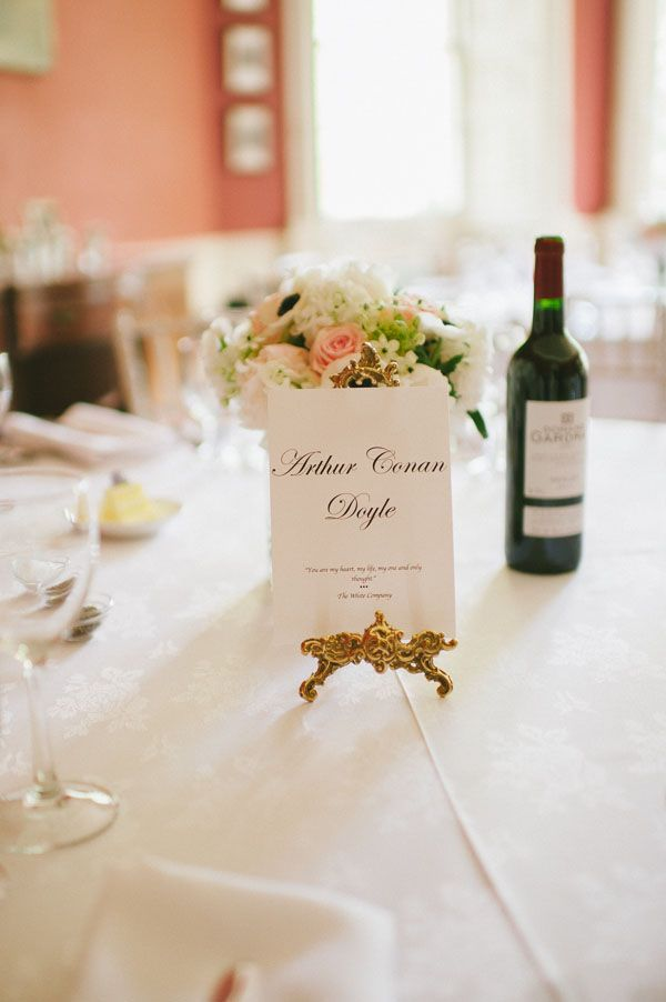 Name your tables after famous authors and include a love quote for a romantic touch #weddingideas