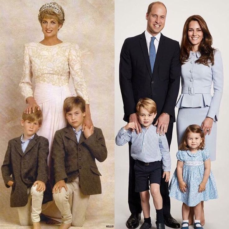 Diana with William and Harry, 1993; William and Catherine with George and Charlotte, 2017