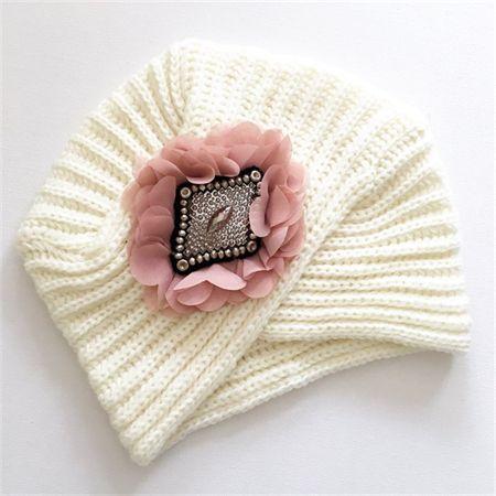 Ladies Chic Turban Beanie - {Ivory/Shell Pink}