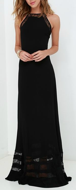 I love this dress. Black is always great, and the lace accents are cool. |Maxi dresses||Formal gowns||Wedding guest dress ideas||Long black dress||Gowns|