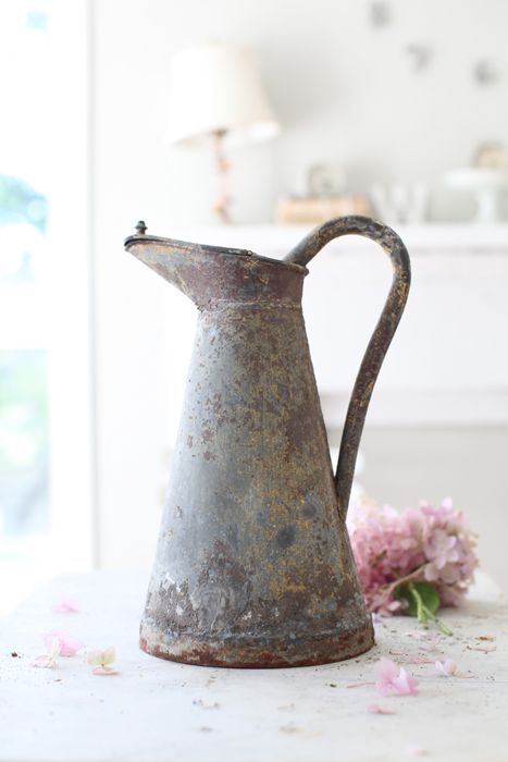 rustic french zinc pitcher