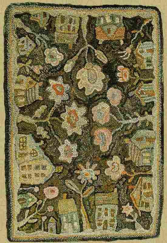 outlet shopping online Houses and flowers hooked rug