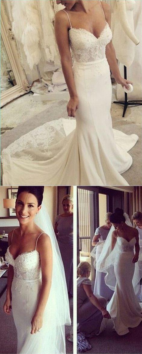 Spaghetti Straps Sleeveless Wedding Dresses,Wedding Dress,Custom Made Wedding Gown