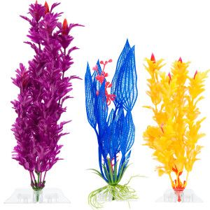Top Fin® Plastic Plant Variety Pack - Blue, Purple, Yellow - PetSmart