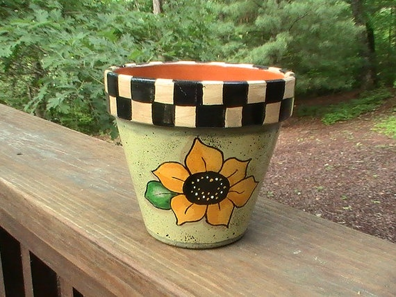 Sunflower Terra Cotta Planter Pot
