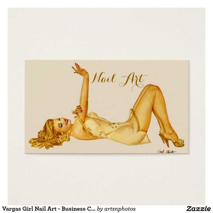 Vargas Girl Nail Art - Business Card  http://www.zazzle.com/artzdizigns?rf=238365382999242687 #businesscards #nails #nailart #nailtech #Vargasgirl #zazzle
