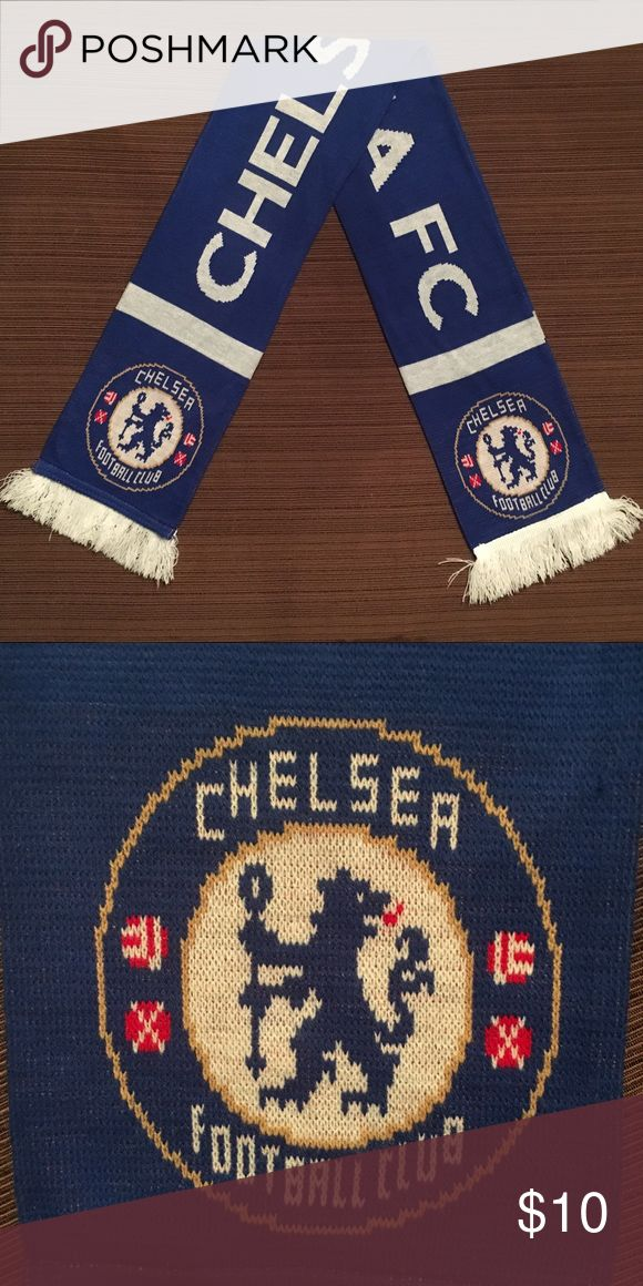 Chelsea FC Scarf This is a genuine football scarf from a sports store in England. I purchased it on a late-April trip to London that was surprisingly winter-like. It was the first winter scarf I could find...winter stuff was long gone from typical department stores. Lol. I haven't worn it since. It's freshly laundered, perfectly clean and ready for a new person to love it! Accessories Scarves & Wraps