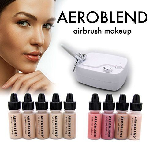 Aeroblend Airbrush Makeup Personal Starter Kit - Professional Cosmetic Airbrush Makeup System - TAN Foundation - Color Match Guarantee - Full 1-Year Warranty -- More info could be found at the image url.