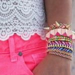DIY Bracelet TutorialsPink Shorts, Stacked Bracelets, Fashion, Spikes, Neon, Colors, Diy Bracelet, Arm Candies, Friendship Bracelets