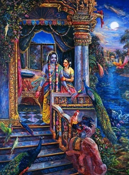 Queen Rukmini and Krsna awaken to sounds of birds. Painting by Pushkar das.