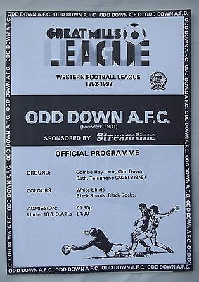 Old football programme Odd Down AFC v Tiverton Town Great Mills League 22 1