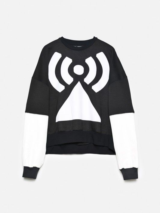 white vinyl printed sweater