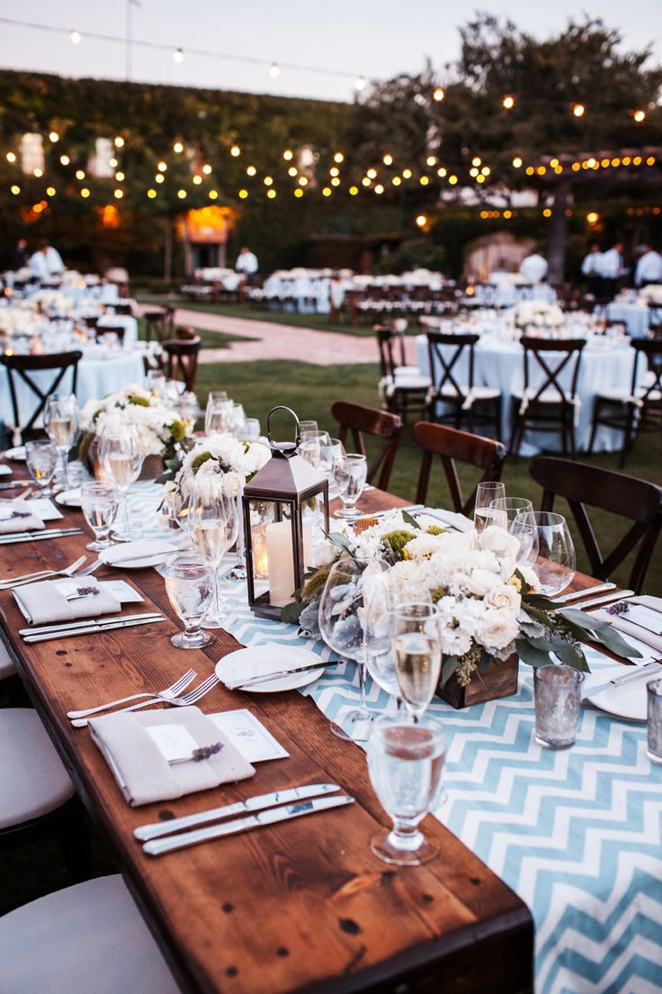 Al Fresco Dinner Reception - Chevron Table Runners - See more on #smp here: http://www.StyleMePretty.com/midwest-weddings/2014/04/11/romantic-wine-country-wedding/ Vrai Photography - vraiphoto.com