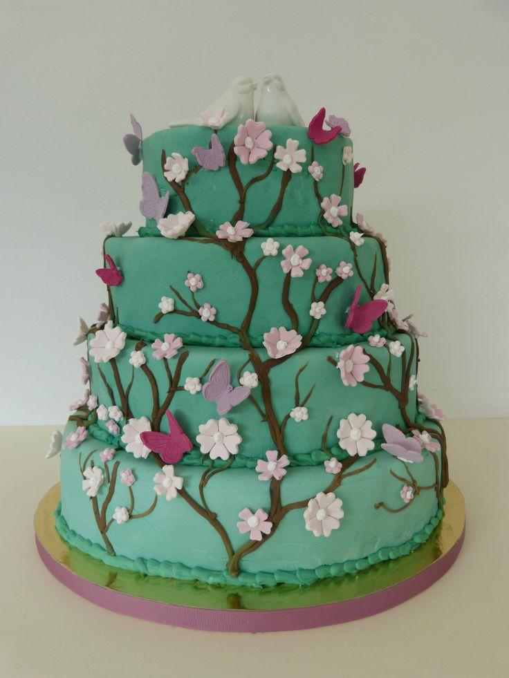 Weddingcake, oval, Hochzeitstorte, green, türkis, grün, Zweig, Ast, Blumen, flowers, Butterflies, Blumen, Cake Cube, Konz, Niedermennig, Wedding Cake, spring wedding, Frühling, Hochzeit