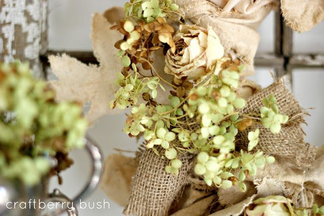 Craftberry Bush: Burlap, canvas and hydrangeas....A Fall Wreath
