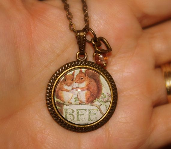 Rustic BFF Squirrel Art Pendant by Creativecutes on Etsy, $18