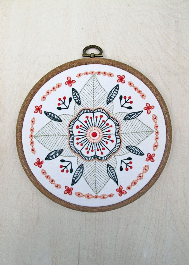 FLORAL MANDALA pdf embroidery pattern circular flower by cozyblue