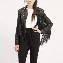 Punk rebites pentagrama estrela entalhado Collar PU falso casaco de couro moda mulheres de bicicleta Tops casacos preto(China (Mainland))