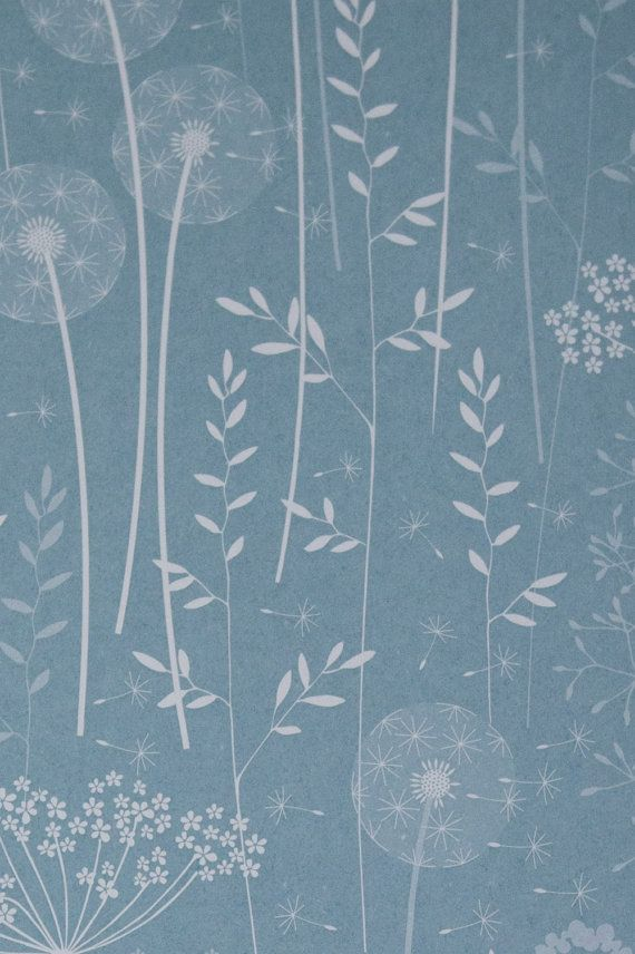 SAMPLE Paper Meadow Wallpaper  Teal by Hannahnunn on Etsy