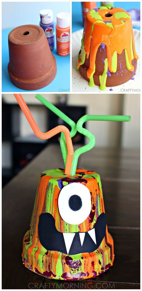 Paint Drip Monster Pots - Super fun Halloween craft for the kids to make! | CraftyMorning.com
