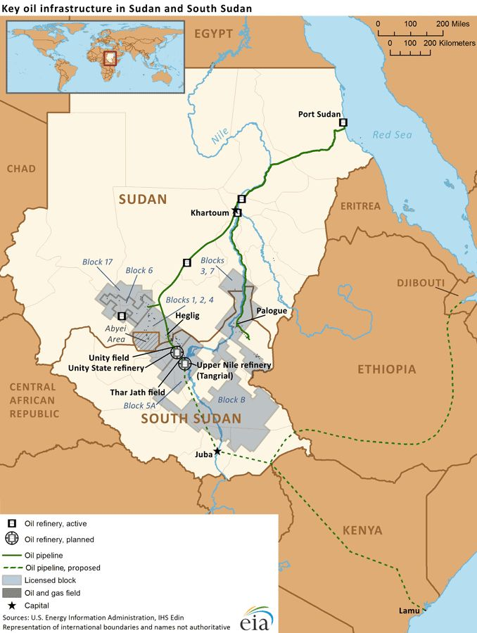 Map of Sudan, oil assets