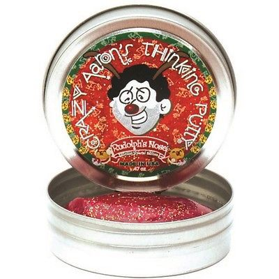 Crazy Aarons Xmas Edition Glitter Thinking Putty Rudolph's Nose 5cm Small Tin