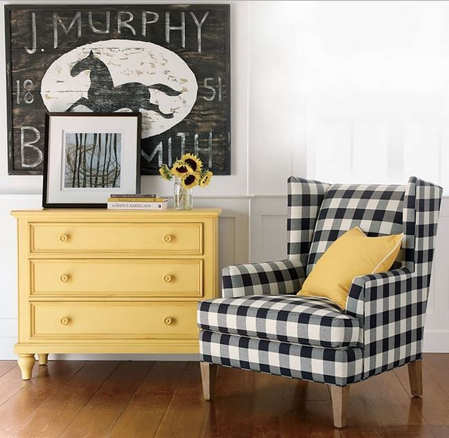 Gingham! black buffalo check chair Ethan Allen