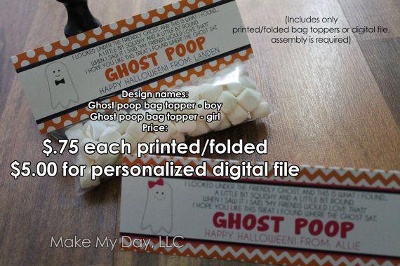 Halloween class treats ghost poop design by wwwmakemydayllccom