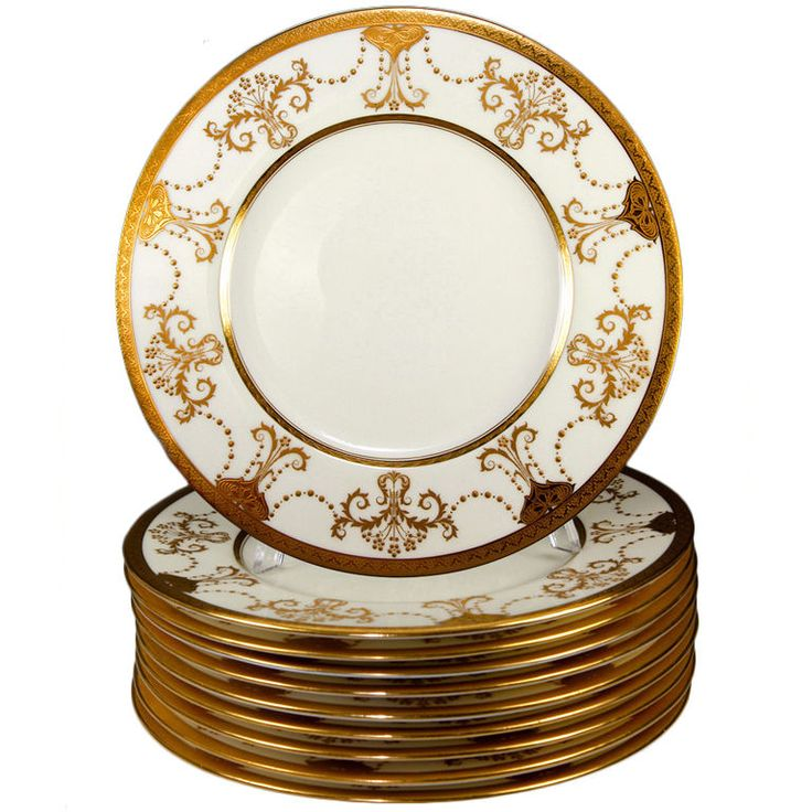 Stunning 1923 Set 11 Raised u0026 Encrusted Gold Plates Minton  sc 1 st  Pinterest & 59 best DINNER SETS images on Pinterest | Dining sets Dinner sets ...