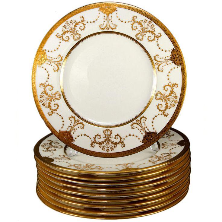 Stunning 1923 Set 11 Raised u0026 Encrusted Gold Plates Minton  sc 1 st  Pinterest & 103 best Plateu0026Pitcheru0026Cup images on Pinterest | Dinnerware Dinner ...