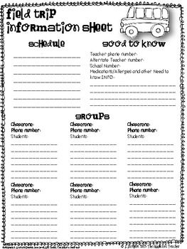 "Heading out on a field trip? I've created this handy one sheet information paper to help you keep all your information straight. I make a copy for each chaperone attending so that everyone is ""know""! Have fun!Like this form? Be sure to check out even more useful forms from my  School Forms and Checklists Pack!"