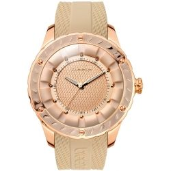 BREEZE Spiral Galaxy Rose Gold Beige Rubber Strap 110301.3