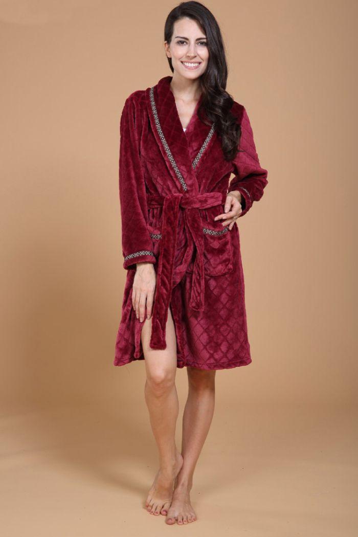 Maroon Fleece Bathrobe For Women Women S Sleepwear