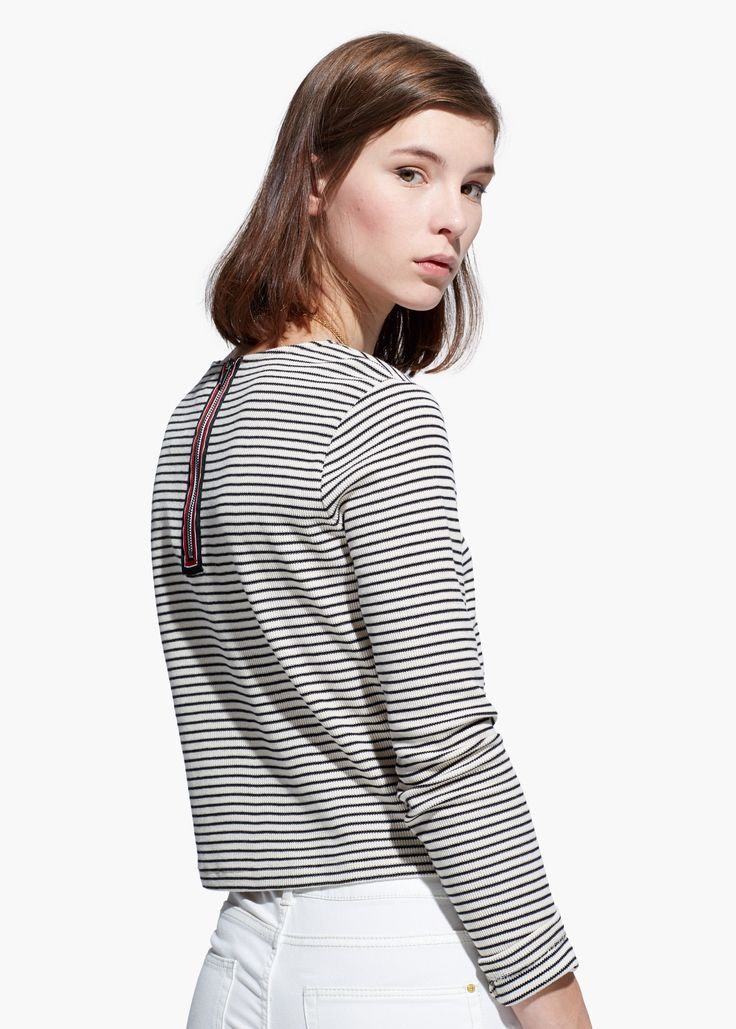 Camiseta punto rayas - Mujer | MANGO