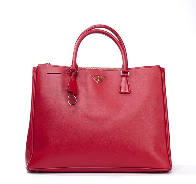 white leather prada bag - Authentic Prada Lux tote bag. Done in durable red saffiano leather ...