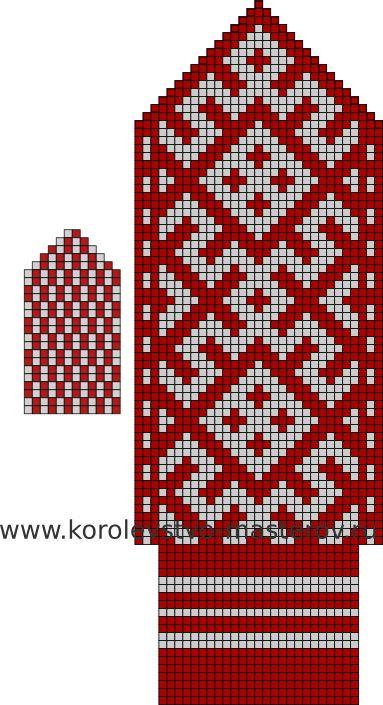Северные узоры для вязания варежек спицами.