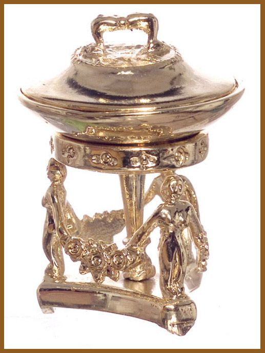 Collectors Quality Gold Metal  Ornate Chafing Dish Dish has removable lid and can be lifted from stand Traditionally Used to keep food warm on the Dining or Serving table