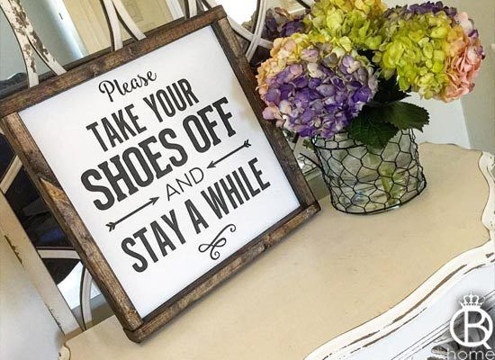 Please Remove Your Shoes Framed Wood Sign - QueenBHome