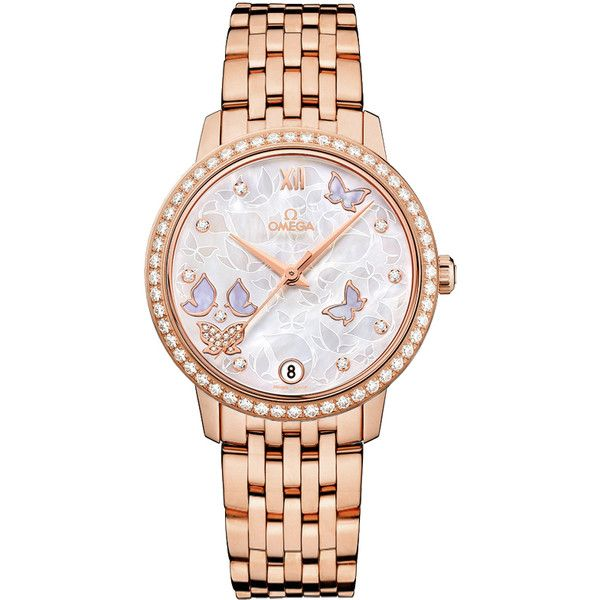 Omega De Ville Prestige Co-Axial 32.7 424.55.33.20.55.004 Watch (42,580 BAM) ❤ liked on Polyvore featuring jewelry, watches, butterfly jewelry, omega wrist watch, omega watches, white watches and white wrist watch