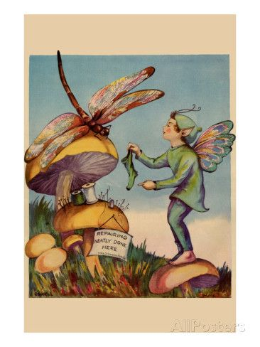 Sprite Needs His Socks Darned by a Dragonfly Who Is Sitting on a Mushroom Prints by Home Arts - AllPosters.co.uk