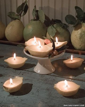 Lemon Candles  The soft light and sweet aroma of candles always make a room more inviting. You can easily make your own naturally scented votive candles from hollowed-out lemon skins and beeswax.  Learn How to Make Lemon Candles