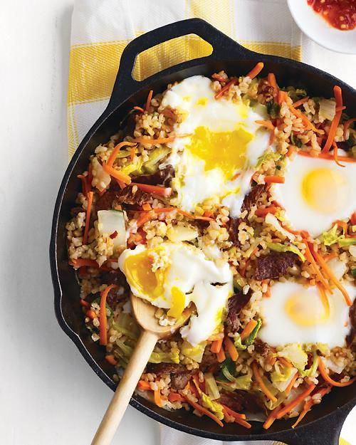 Crisped Brown Rice with Beef, Vegetables, and EggsBrown Rice, Weeknight Dinner, Beef Recipe, Korean Bibimbap, Healthy Dinner, Crisps Brown, Rice Recipe, Fries Rice, Weeks Meals